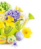 jpg2015020917393684992 Easter eggs with spring flowers in watering can