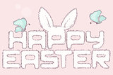 Happy easter fur inscription. Hand drawn headline