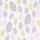 Stylish seamless pattern with textured leaves