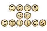 code of ethics in typewriter keys