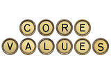 core values in typewriter keys