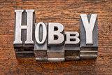 hobby word in metal type