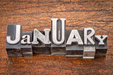 January month in metal type