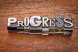 progress word in  metal type