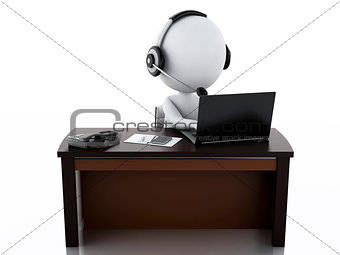 3d white people with a Headphones with Microphone and laptop.