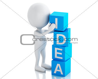 3d white people with cubes with word idea.