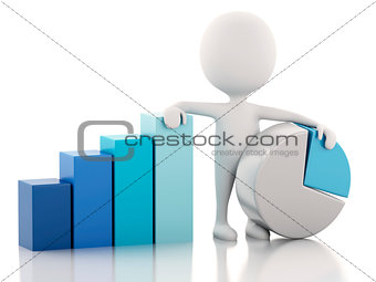 3d white people business statistic graph. Success concept