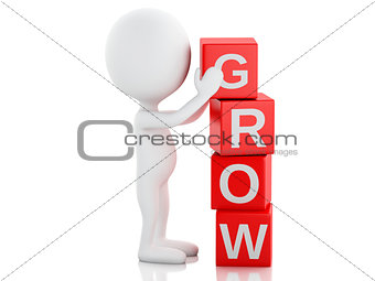 3d white people with cubes with word grow.