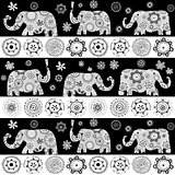 Ethnic floral patterned elephants background