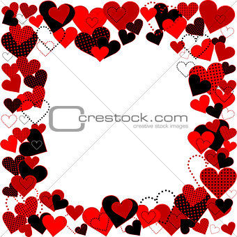 Frame with dotted hearts, plain hearts and plaid hearts