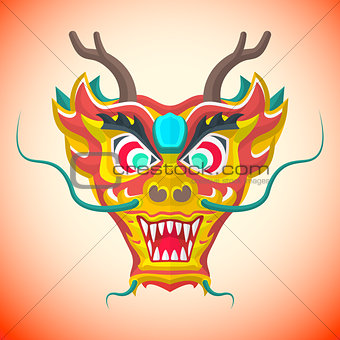 flat style chinese red dragon mask