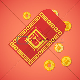 flat style chinese new year red envelope with coins