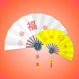 flat style chinese new year fans