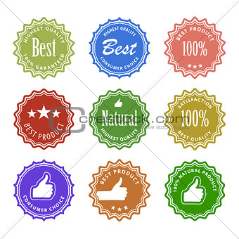 Flat design satisfaction guarantee labels with gesture hand