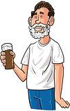 Cartoon beer drinker with Santa beard