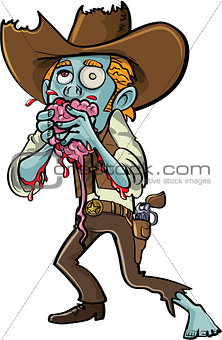 Cartoon zombie cowboy eating a brain