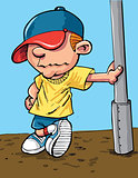 Cartoon cool kid with a baseball cap