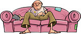 Cartoon TV watcher on couch