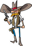 Cartoon cowboy sheriff with gun