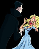 Cartoon Dracula attacking woman