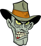 Cartoon evil cowboy zombie head