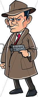 Cartoon secret agent with a hat and gun