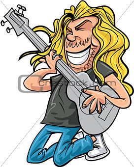 Cartoon rock guitar player playing rock music