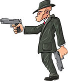 Cartoon gangster hitman pointing his gun
