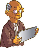 Cartoon old man using an ipad