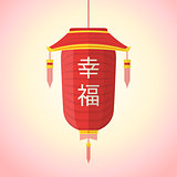 flat style chinese new year red lantern illustration