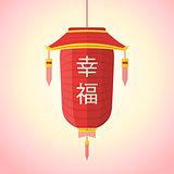 flat style chinese new year red lantern illustration