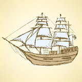 Sketch sea ship in vintage style