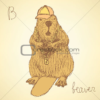 Sketch beaver hipster in vintage style