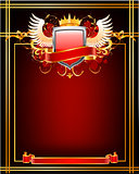 Red ornate frame.