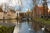 Landscape at Lake Minnewater in Bruges, Belgium