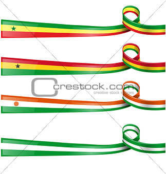 africa flag set on white background