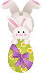 Easter bunny holding a large chocolate egg