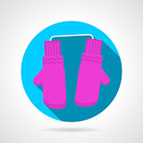 Round flat vector icon for pink mittens