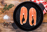 Salmon steak in grill pan