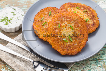 Potato pancakes on a plate