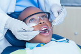 Close up of boy having his teeth examined