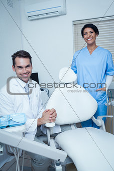 Portrait of smiling dentists
