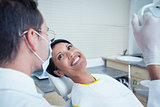 Smiling woman waiting for dental exam