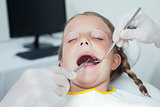 Close up of girl having her teeth examined