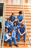 Medical students chatting on the steps