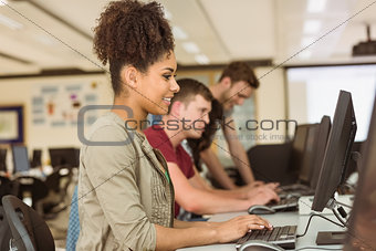 Classmates working in the computer room