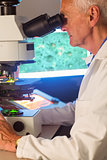 Senior scientist looking through microscope