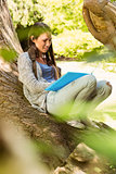 Smiling student sitting on trunk and reading book