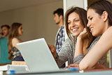 Smiling friends sitting using laptop