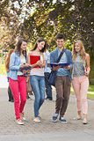 Happy students walking and chatting outside